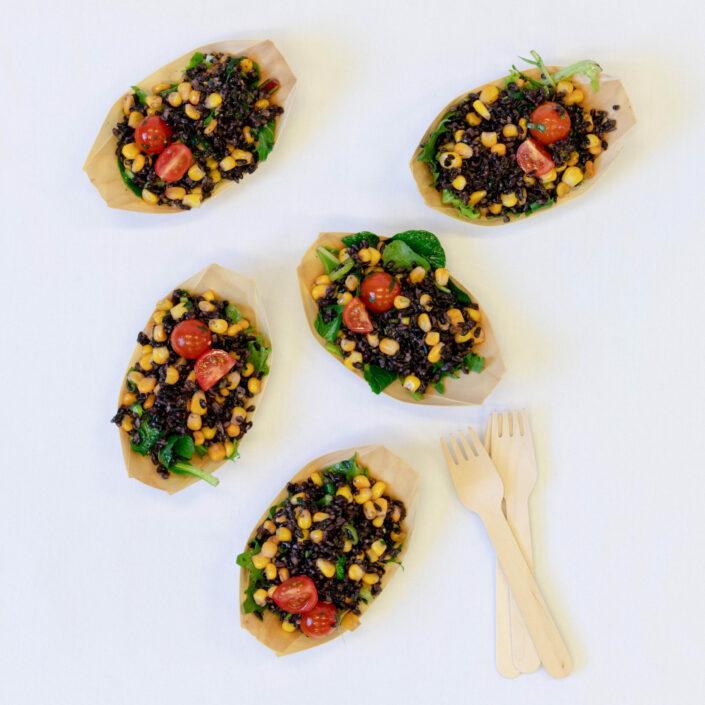 Antioxidant rich black rice, sweetcorn, cherry tomato, light lime & coriander dressing