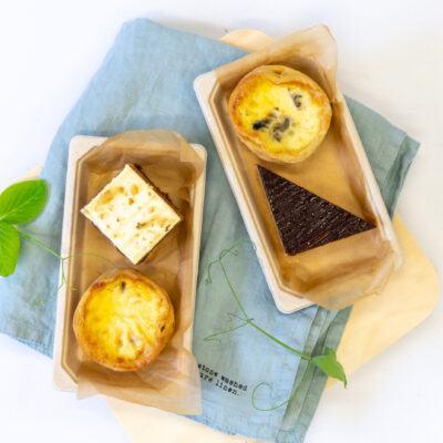 Duo pack C – Assorted cake + Mushroom, garlic & thyme tart