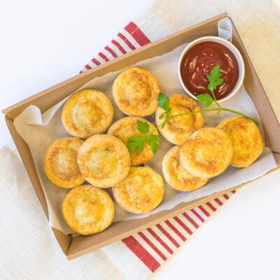 Classic party pies, tomato sauce
