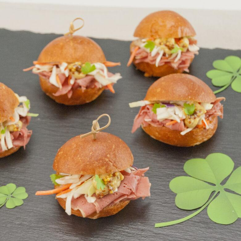 Corned Beef Mini Sliders with Cabbage & Guinness Mustard