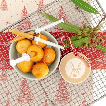Donut balls, cinnamon sugar, salted caramel syringe