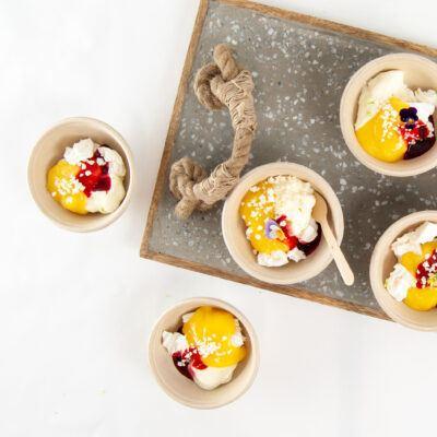Lemon curd, meringue & raspberry eton mess