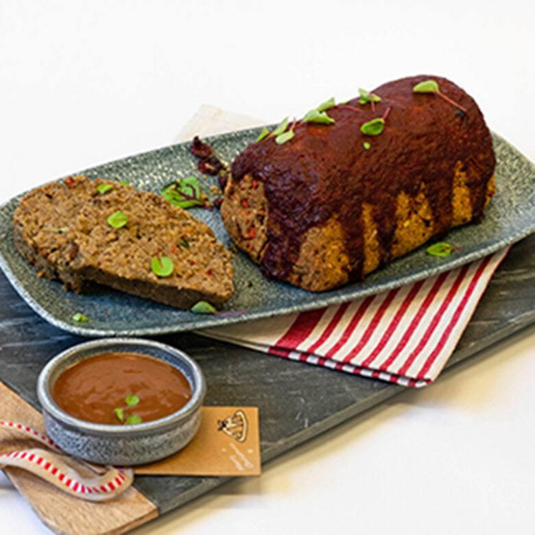 Glazed quinoa, mushroom, cranberry & walnut loaf