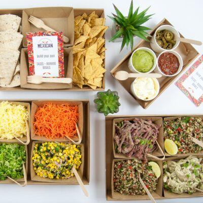 Build your own burrito bowl, taco or nachos