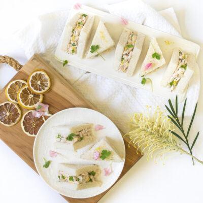 Mini free range chicken sandwich, lemon mayo, baby herbs