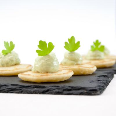 St Pats Mini Pancakes Topped with Spinach & Onion Mousse
