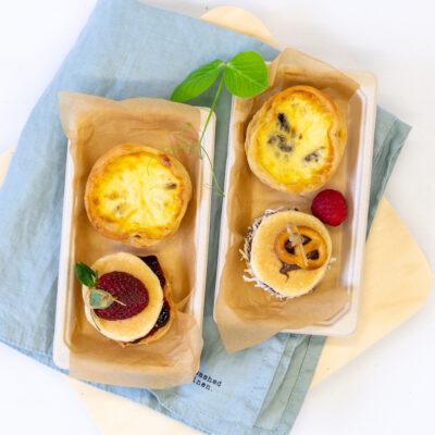 Duo pack A – Mushroom, garlic & thyme tart + pancake stack