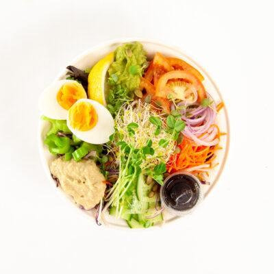 Boiled egg & hommus naked sandwich bowl