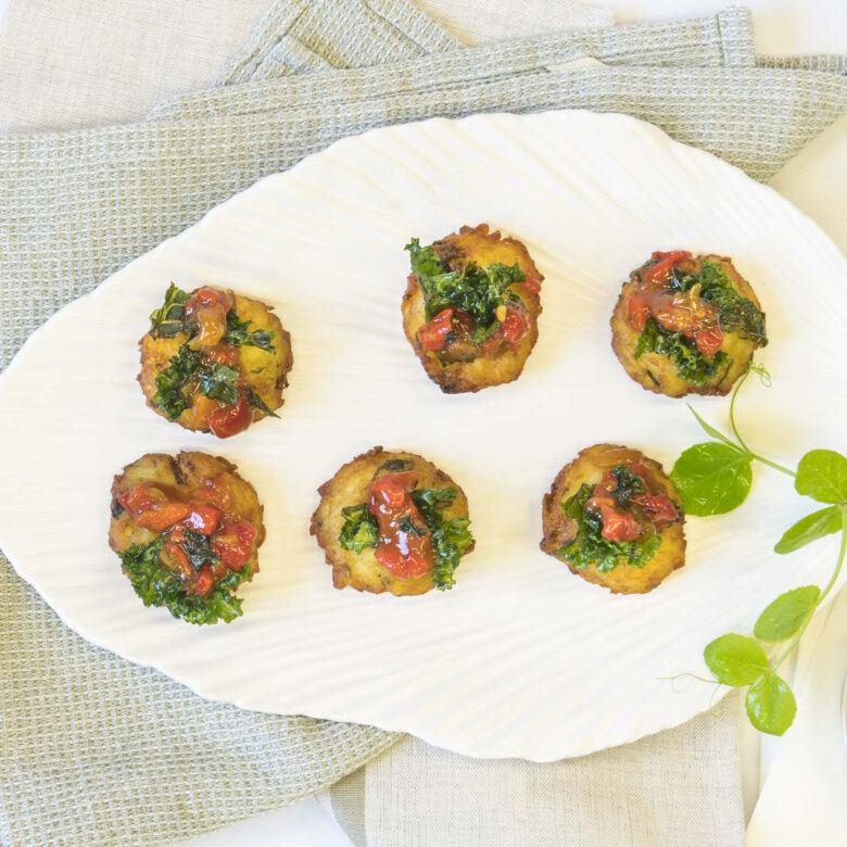 Potato rosti, tomato & red pepper relish, micro herb