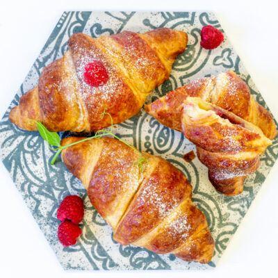 Raspberry filled vegan croissants