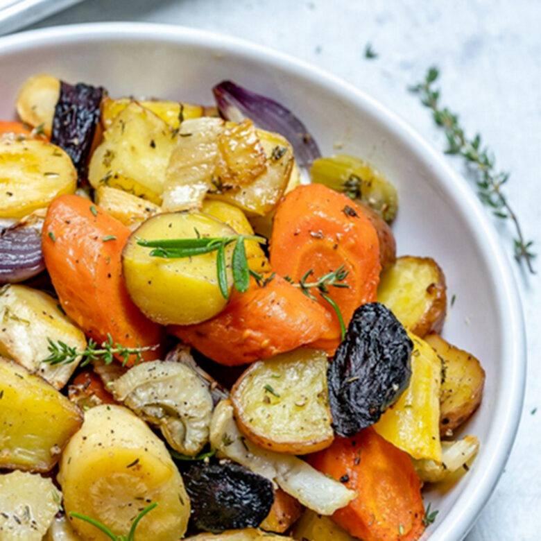 Warm roasted root vegetables, rosemary & garlic