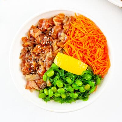 Sashimi grade salmon poke bowl