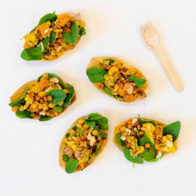 Vitamin rich, high fibre, spiced cauliflower, chickpea, pumpkin, cranberry salad, almond dressing