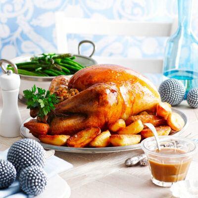 Whole roast turkey with cranberry, lemon & sage stuffing