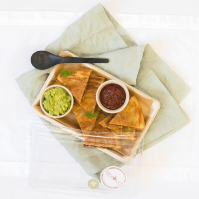 Leg ham & cheese pastry quesadilla, guacamole & salsa