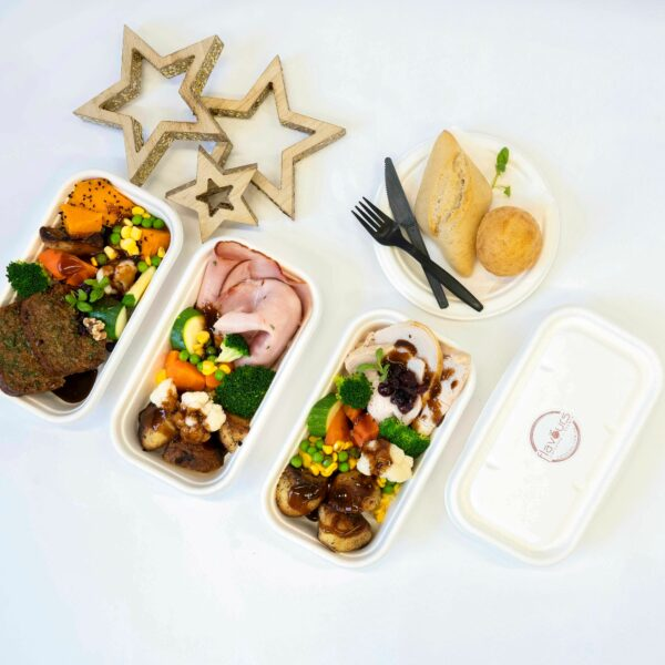 Christmas themed individual gourmet meals