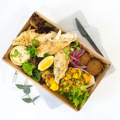 Vegan mediterranean mezze box