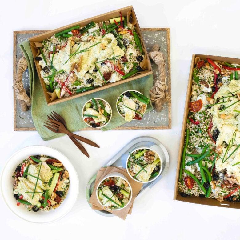 Pesto chicken, buckwheat and herbed potato salad, green beans, semi dried tomato, parmesan, balsamic