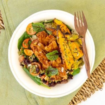 "Individual BBQ plant based ""chicken"" salad"