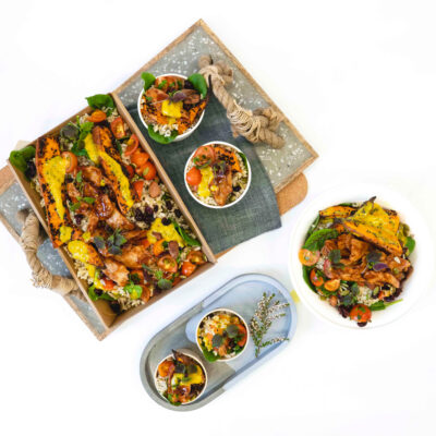 Hot smoked salmon, herbed Israeli cous cous, broccoli, beetroot, nori, miso, orange & sesame dressing