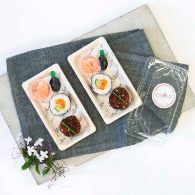 Canape pack 1 - Tofu sushi, pickled ginger, soy + Gochujang glazed quinoa Ball