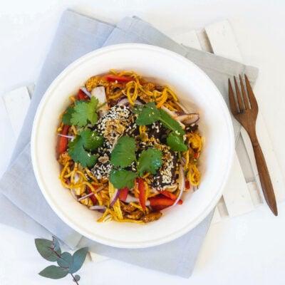 Individual teriyaki beef salad