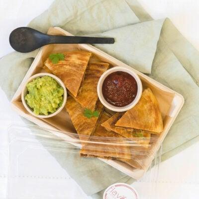 Black bean pastry quesadilla bites, guacamole & salsa